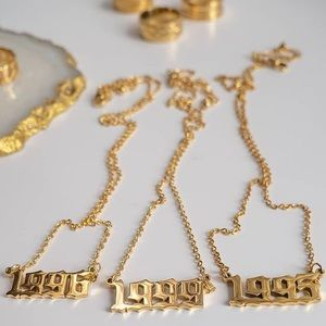 1999 Birth Year Gothic Font Necklace